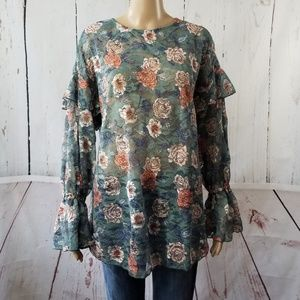 Melrose and Market Floral Print Lace Blouse